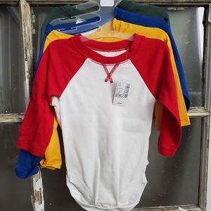 Long sleeve onesies shirts 4pk 12-18mo NWT